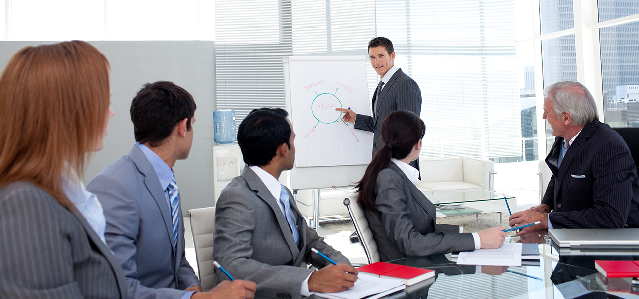confident manager discussing at a meeting